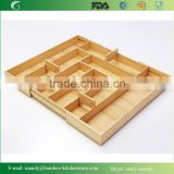 Multi-functional Bamboo Storage Organizer,Expandable Cutlery Bamboo Tray, kitchen drawer cutlery tray
