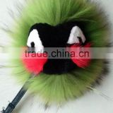 Factory Cute Style High Quality Real Fox Fur Monster Doll Keychain Charm for bag