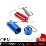 custom logo durable strong aluminum alloy mini pill container keychain