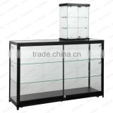 Duplex portable jewelry showcase glass shelving jewelry display case
