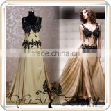 RSE40 Lace Bodice Black And Champagne Muslim Bridesmaid Dresses