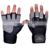 WEIGHT LIFTING GLOVES GYM POWER TRAINING GLOVES AMARA LEATHER LONG WRIST STRAP , SPANDEX 4 WAY