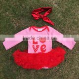 "2016 Valentine's day design baby girls romper ruffle dress clothes pink red""Love"" cute baby kids clothes with matching headband"