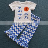 boutique chevron suit short sleeve shirt with basketball design baby sport suit cheap china wholesale clothing YW-071