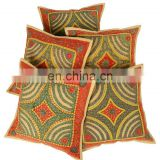 Bohemian Patch Work Pillow Covers Embroidered Cotton Set Of 5 Pcs.Cushion Covers