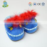 New design fluffy plush carton style big eyes baby warm winter indoor slippers