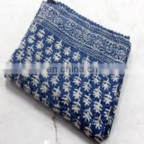 Hand made kantha quilt vintage twin size throw hand stitched indigo blue color