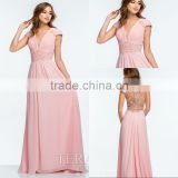 A-line Charming V-neck Beaded Pearl Chiffon Pink Evening Dress With Cap Sleeve