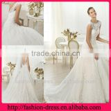 A-line Bateau Neck Open Back Sash Lace Wedding Dress 2014