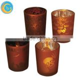 Halloween Witch Candle Holder Lantern &Hand Engraved Glass Candle Holders/Pumpkin Jars
