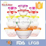 Set of 5 pcs glass mixing salad bowl with colorful plastic lid                                                                         Quality Choice