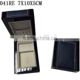 W1041RE Whosale Ring And Earring Jewelry Wooden Box High Glossy With PU leather stitching on top