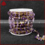 natural amethyst beads stainless steel gold chain wholesale gemstone chain roll