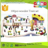 continued selling FSC wooden toys train for children OEM 100pcs wooden train set EZ5086                                                                         Quality Choice