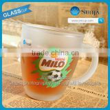 2014 Fashion football style handle glass mug cups logo transparent drinking glassware Nestle tea cup frosted glass mugs
