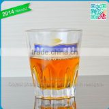 Special embossed glass cups beautiful decal cups polygonal whiskey and shot glass cups do as buyers request