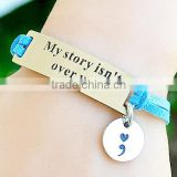 Adjustable chain microfiber leather cord Inspirational charm bracelet                                                                                                         Supplier's Choice