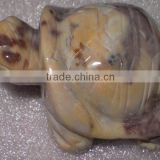 Brown mookiate stone crawling turtle stone carving-semi precious stone animal carving products for gifts and home decoration