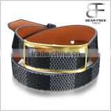 Unisex Retro Wide Double Layers Grid Pattern Leather Bracelet Length Adjustable