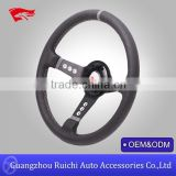 custom drifting steering wheel 330mm deep corn drifting style steering wheel wrapped with genuine leather steering cover
