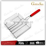 Stainless Steel BBQ Grilling Vegetable Basket With TPR Handle