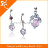 Rainbow fashion belly rings made in China factory 316L stainless steel belly ring crystal