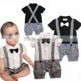 Infant Boy Rompers With Bow-tie Baby One Piece Romper Kids Climb Clothes Toddler Plaid Jumpsuits RR40319-1