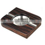 Double Cigar Ebony Wood Stainless Steel Cigar Ashtray
