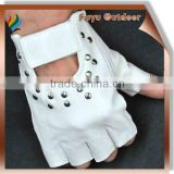 cow split leather gloves with rivet, fringerless, white,offer protection, also allow your hands to keep cool