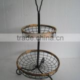 popular shabby chic anti black metal garden outdoor 2-tier fruit basket