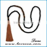 Charms antique wooden beads tassel necklace for lady