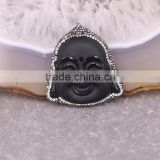 Black Obsidian Pendant, with Pave Crystal Edged Carving Obsidian Buddha Face Pendant, Gem stone Pendant For Jewelry Making