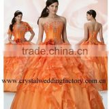 Top quality strapless appliqued beaded ruffled organza custom-made formal ball gown CWFab3709