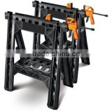 Portable Folding Plastic Clamping Sawhorse Work Tool Stand Bar Clamps Saw Horse