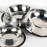 Best selling product wholesale skidproof cheap 201 stainless steel dog bowl with silicone ring