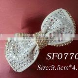 2013 fashion shoe accessories, rhinestone bowknot shoe clip with metal lace wholesale