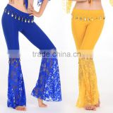 Wholesale women's lace fishtail dance pants with coin lace bell