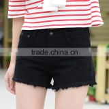 Hot sell Summer black elegant burrs denim women shorts