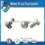 "Taiwan #9-15 x 1-1/2"" Zinc Pan Head Bimetal 6-Lobe Washer Head Sheet Metal Screw Type AB with Hex Double Lock Washer Square"