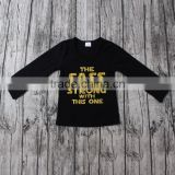 Children Cotton Designs black T-shirts with colours words vinyl print ordering blank t-shirt china wholesale