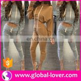 INquiry about Wholesale Lady Fashion Two Piece Plus Size Track Suit Women Crop Set
