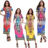 African Dashiki Women Traditional African Printed Dashiki Bodycon Dress Short Sleeve Long Dress COTTON Dashiki print