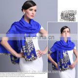 2015 NEW 100% Wool high quality elegant peacock scarf shawl blue