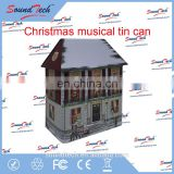 High quality square tin can with Christmas music and light up LED fiber optics