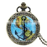 Hot products to sell online antique glass cover world map navigation pocket watch with chain