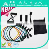 High quality 11pcs latex resistance bands set /exercise resistance bands for yoga /gym equipment