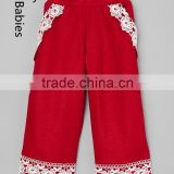 Wholesale bulk kids clothing sweet and simple pants trousers with lace trim