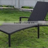 Patio black recliner chair outdoor furniture beach rattan sun lounger with arm