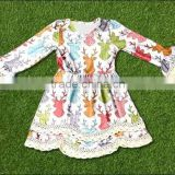 Children clothing 2016 girls dress deer pattern girls summer dress girls party wear dress fall clothing
