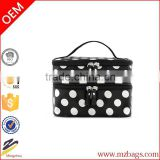 Fashion Double Layer Cosmetic Bag with White Dot Travel Toiletry Cosmetic Makeup Bag Organizer With Mirror